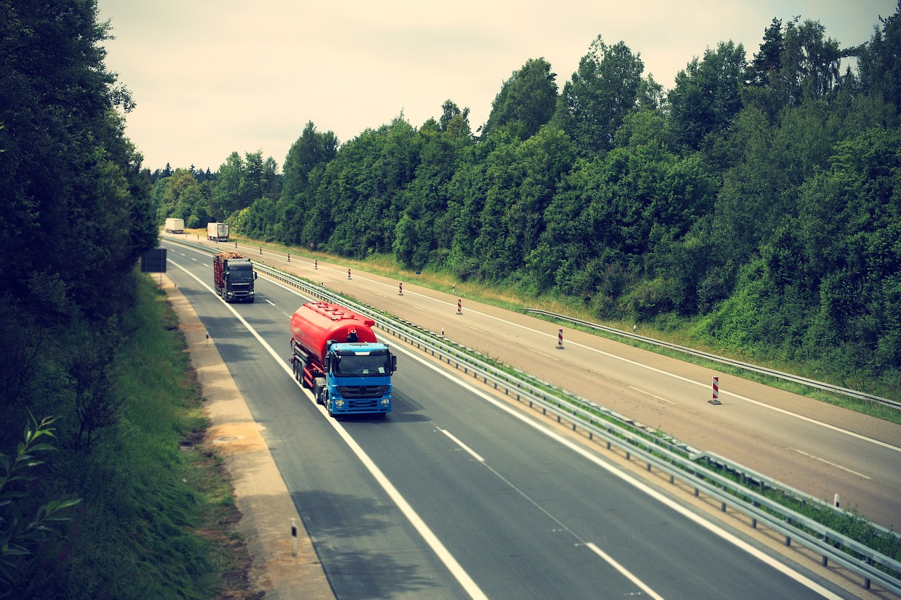 truck, highway, logistics