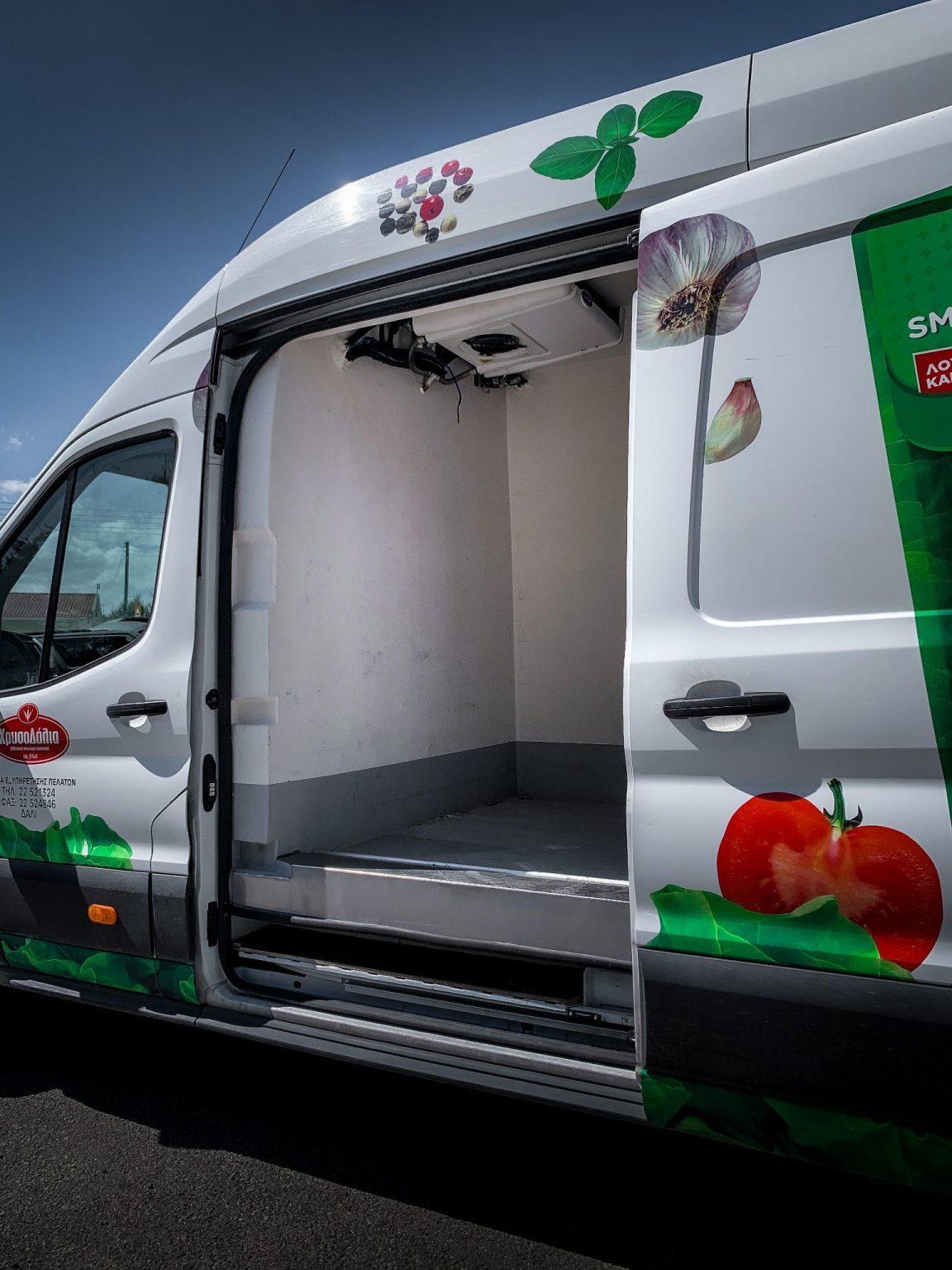 Inside a food distribution truck